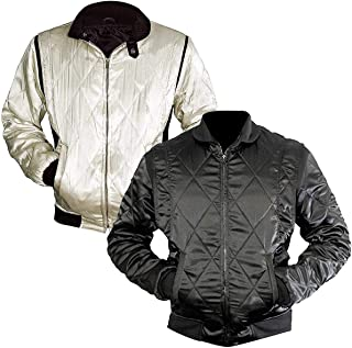 LP-FACON Mens Scorpio Logo Satin Bomber Jacket Black/White