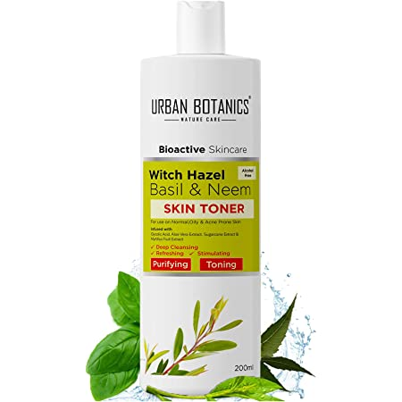 UrbanBotanics® Alcohol Free Toner for Face with Witch Hazel, Neem, Basil & Glycolic Acid - Face Toner For Oily Skin, Normal Skin & Acne Prone Skin - Pore Tightening, Cleansing & Whitening, 200ml