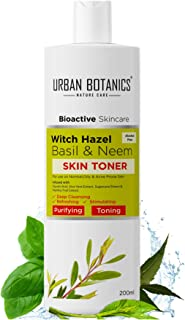 UrbanBotanics® Toner for Face with Witch Hazel, Neem, Basil & Glycolic Acid - For Normal, Oily Skin & Acne Prone Skin - Al...