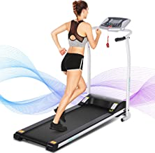 ANCHEER Treadmill for Small Spaces,Compact Treadmills with LCD Monitor Motorized,Pulse Grip and Safe Key,Top Indoor Exercise Machine Trainer Walking Jogging Running for Home & Office Workout