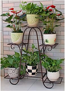 Flower stand 4layer Metal Plant Stand, Shelf Flower Pot Display Stand Indoor And Outdoor Garden Courtyard Decoration (Colo...