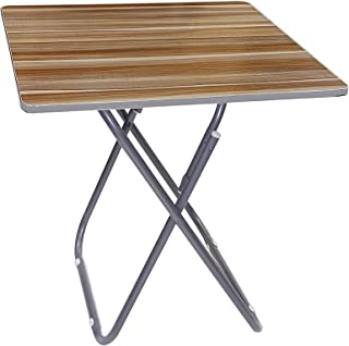 Wooden Square Folding Table with Metallic Stand, Brown, H70 x W97 x D5 cm