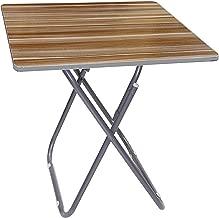 طاولة خشبية مربعة قابلة للطي مع حامل معدني,بني