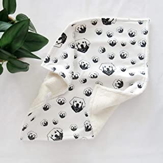 "Golden Retriever Print Baby Security Blanket Organic Cotton Baby Comforter, Size 18""x18"""