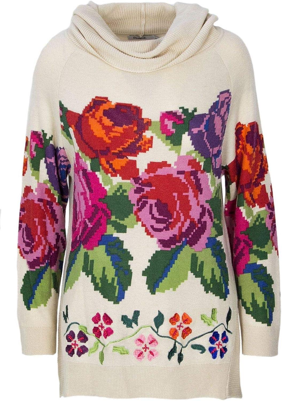 Desigual Women's 18WWJF51BEIGE Beige Wool Sweater