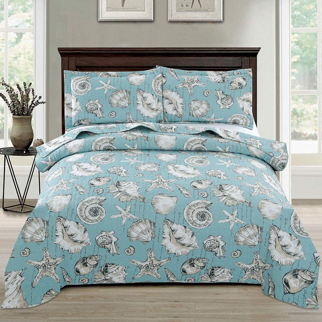 Beach Quilts Set King Size Seashell Conch Bedspreads,3Pcs Ocean Theme Starfish Coverlet Set Lightweight Quilt Reversible Bedding Cover Pillow Shams,Blue