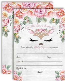 Deer Face Watercolor Floral Little Deer Baby Shower Invitations for Girls, 20 5