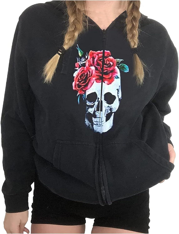 Women's Streetwear Jacket Vintage Soild Zip Up Drawstring Hoodie Pullover Sweatshirt Y2KLong Sleeves Crop Tops