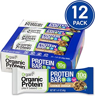 Orgain Organic Plant Based Protein Bar, Chocolate Chip Cookie Dough - Vegan, Gluten Free, Non Dairy, Soy Free, Lactose Free, Kosher, Non-GMO, 1.41 Ounce, 12 Count
