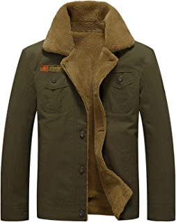 Men's Cotton Warm Fur Collar Casual Button Military Cargo Jacket Outwear Parka Winter Quilted Coat