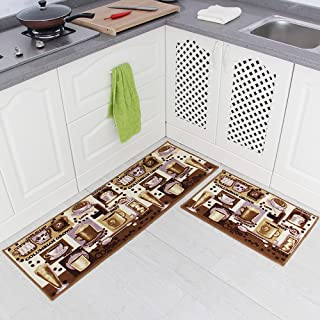 Carvapet 2 Piece Non-Slip Kitchen Mat Rubber Backing Doormat Runner Rug Set, Coffee..