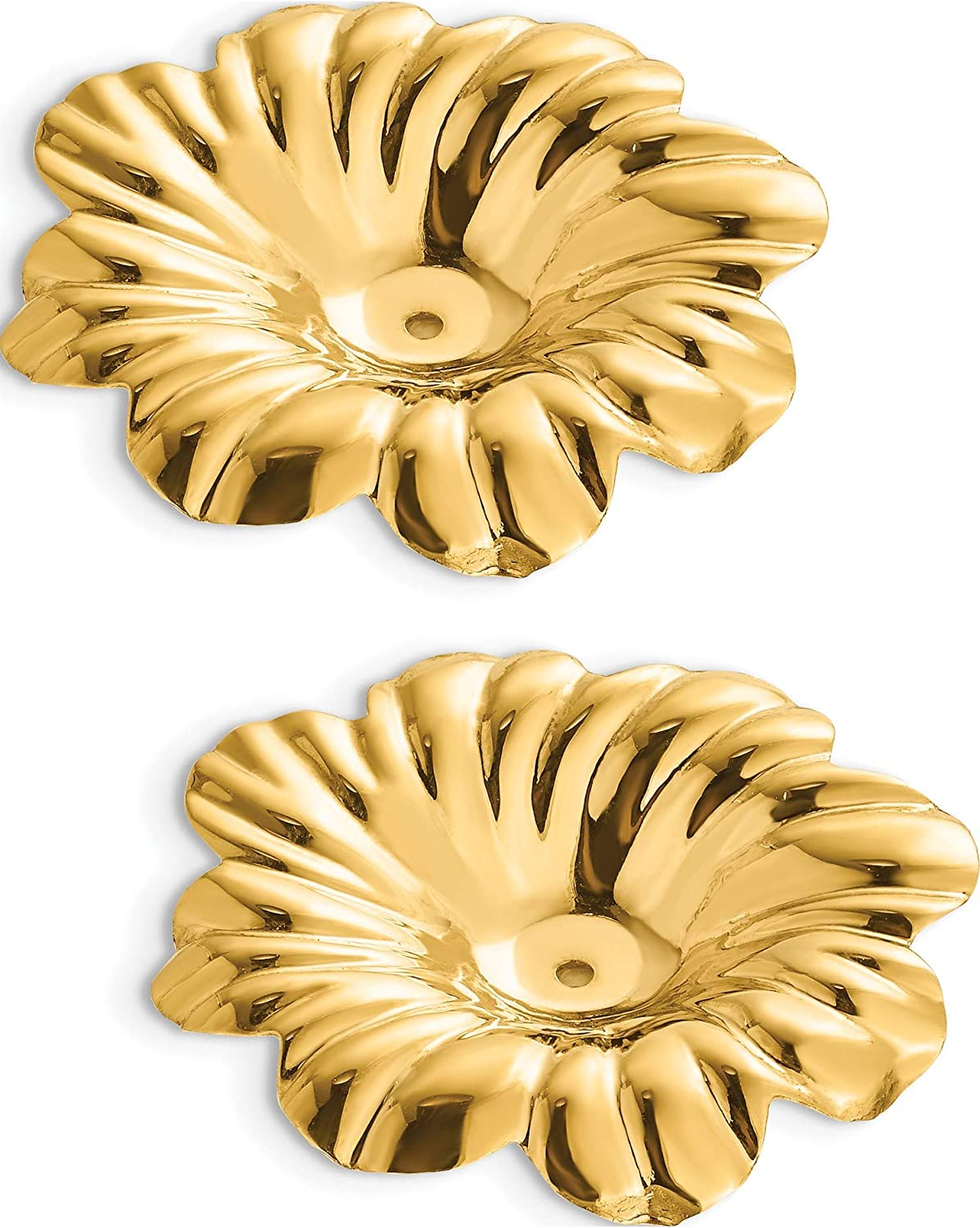 14K Yellow Gold Polished Floral Earring Jackets (Length=24) (Width=23)