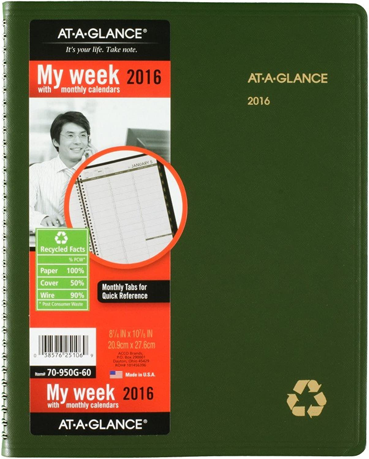 AT-A-GLANCE Weekly   Monthly Appointment Book Book Book   Planner 2016, Recycled, 8.25 x 10.88 Inches, Grün (70-950G-60) by At-A-Glance B00WWVQ9VY | Mittlere Kosten  bfa922