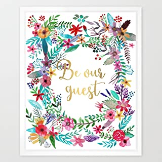 Eleville 8X10 Be our guest Real Gold Foil and Floral Watercolor Art Print(Unframed) Beauty and the Beast Quote art Welcome print Guest room Decor Home wall art Motivational Poster Wedding Gifts WG029