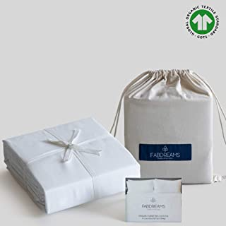 100% Organic Cotton Twin XL White Sheet Set- Sateen Weave- 3 Piece- 400 Thread Count- GOTS Certified- Soft Silky Shiny - Luxury Finish- Fits Upto 17