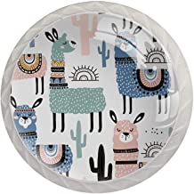 Set van 4 Crystal Glass knoppen Leuke Alpaca Cactus (2) Dressoir Crystal Glass Knoppen Lade Knoppen Hardware voor Dressoir...
