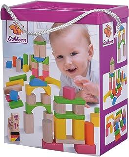 Eichhorn 100088021 60 kolorowych i naturalnych elementów drewnianych w pudełku do przechowywania ze sznurkiem i pokrywką, ...