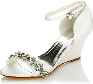 JIA JIA 121755B Women's Bridal Shoes Open Toe Wedge Heel Satin Pumps Rhinestone Wedding Shoes