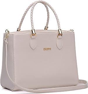 Bolsa Feminina Dhaffy Branco, Alça de Mão Trabalhada e Transversal. cor:branco;tamanho:G