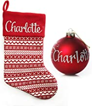 The Christmas Cart Personalised Gifts & Keepsakes Red Knitted Stocking and Bauble Pack
