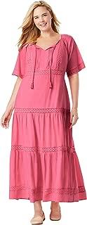 Woman Within Women's Plus Size Crochet Trim Tassel-Tie Dress