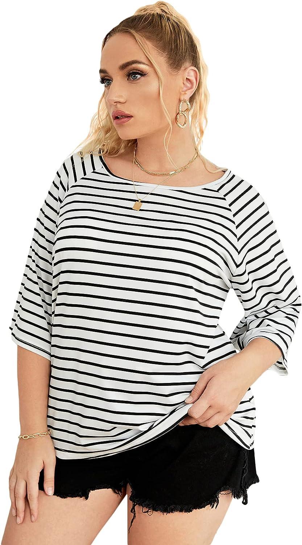 SheIn Women's Plus Size Short Sleeve Tee Tops Boat Neck Striped Print Tee Shirt