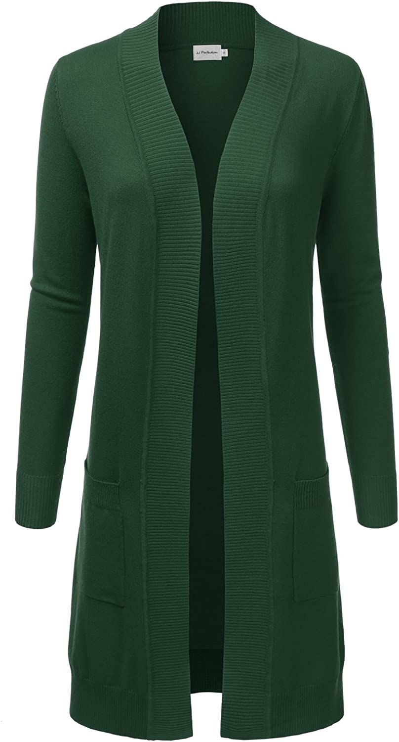 JJ Perfection Womens Light Weight Long Sleeve Open Front Long Cardigan ARMYOLIVE L