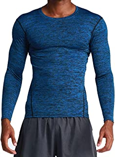 KUQIURW Mens Compression Shirts Long Sleeve Compression Baselayer Quick Dry Workout Shirts for Men