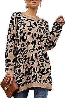 Rainlin Women Casual Leopard Print Pullover Sweater Crewneck Oversized Tunic Knitted Jumper Sweater