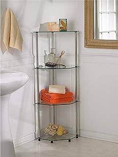Convenience Concepts Designs2Go Go-Accsense 4-Tier Glass Corner Shelf, Clear Glass