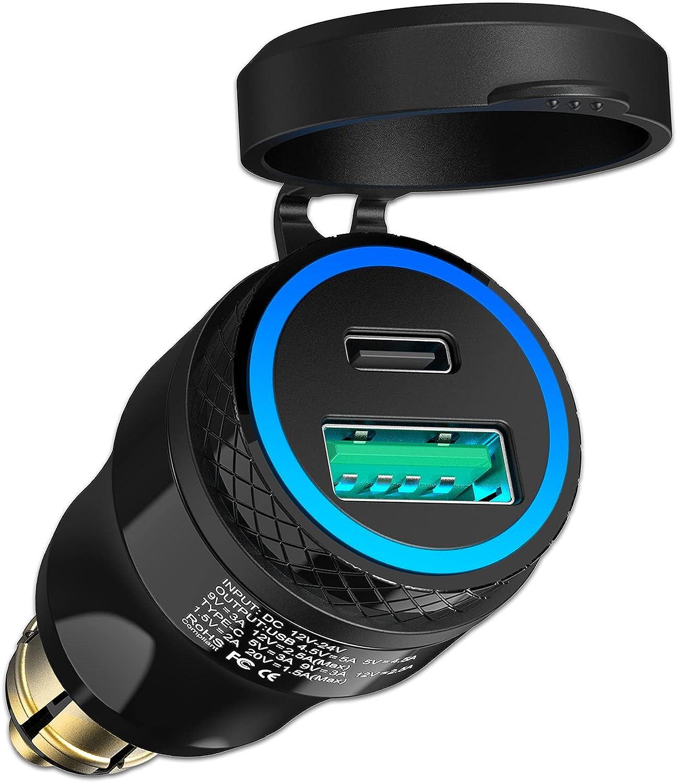Adaptador de Enchufe USB C para BWM Moto EU Plug DIN Hella, Enchufe Aluminio USB 30W PD&QC 3.0 Cargador Encendedor Cigarrillos Impermeable para 12-24V Barco Ducati Triunfo y Otras Moto Estilo Euro