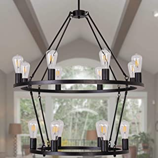 Osairuos 2 Tier W31.5'' Vintage Chandelier Kitchen Island Rustic Pendant Farmhouse Chandeliers Ceiling Light Fixture for Dining Living Room Cafe Hallways Entryway 14-Lights