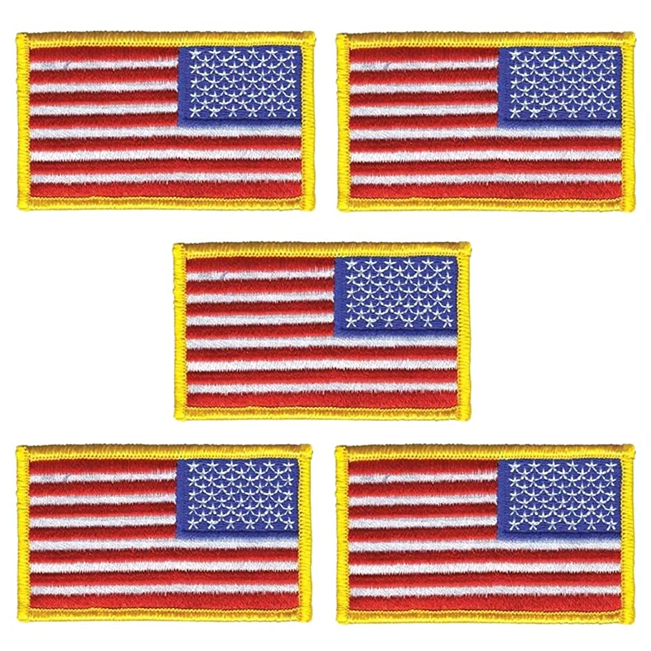 Lozom 5 Pack, 3 X 2 Inch American US Flag Embroidered Cloth Sew on Patch Golden Yellow Border. (5-pcs-Gold)
