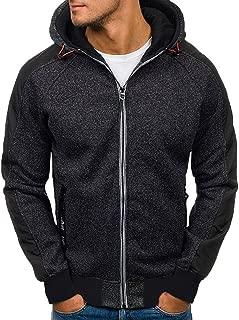 Zackate Mens Solid Color Hooded Sweatshirts Jacket Casual Slim Fit Sport Outwear Hoodies