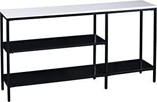Holly & Martin – Corman Narrow Console Table - Black w/ Light Gray Faux Marble - 56