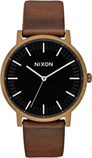 Nixon Porter Leather Watch One Size Brass/Black/Brown