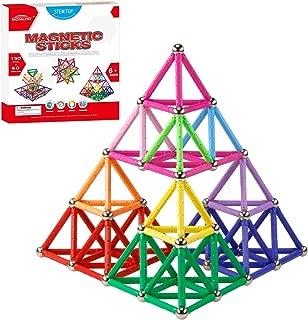 MONILON 160 Pcs Magnet Building Sticks Kids Toys, Lengthen Magnetic Construction Building Blocks Set 3D Brain Training Learning Educational DIY STEM Toys