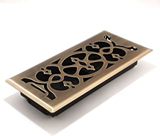 Accord AMFRABV410 Floor Register with Victorian Design,  Fits 4-Inch x 10-Inch(Duct Opening Measurements), Antique Brass