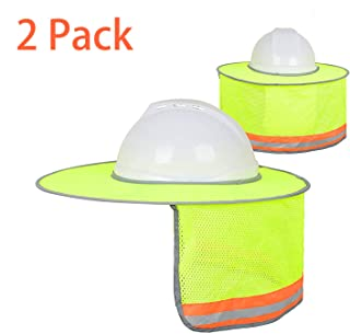 BOENFU Hard Hat Sun Shade 2 Pack, Full Brim Hard Hat Neck Shade Cowboy Hard Hat with Secure-Fit Fasteners & Built In Sweat Towel for Construction - Yellow (Hard Hat Not Included)
