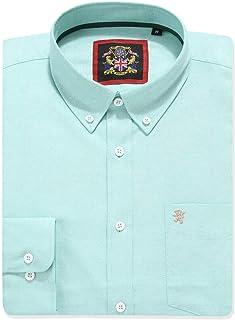 Camisa de manga larga para Hombres, Modelo English Oxford Cuello con botones, con Bolsillo y Bordado. Se lleva con una cor...