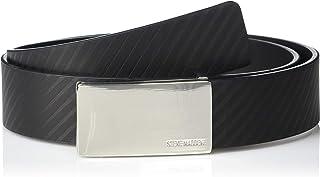 Steve Madden Men's Diagonal Stripe Belt with Plaque Buckle