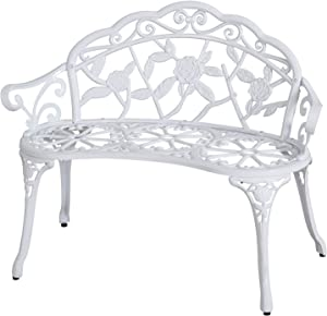 Sunjoy Rosier Cast Aluminum Verdi White Loveseat Bench