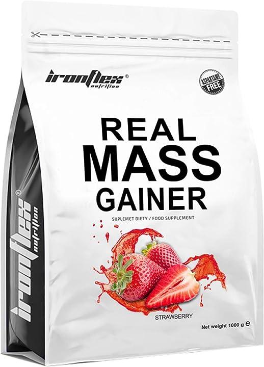 Gainer per crescita muscolare  carboidrati proteine caseina micellare ironflex real mass gainer gusto fragola B08WC5DTHS