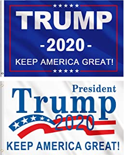 Jetec 2 Pieces Donald Trump for President 2020 Flag NO More Bullshit Flag Keep America Great Flag (Color K)