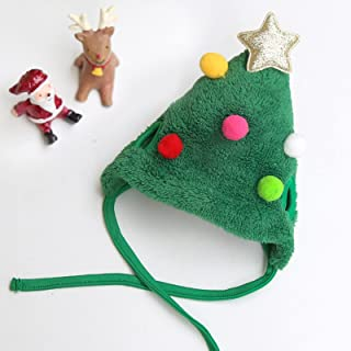 الكلب والقط الحيوانات الأليفة قبعة عيد الميلاد يبصقون مسح مريلة قبعةخضراءملونةالكرةL(مناسبةل8-15القطط)