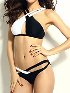Women's Swimwear White Black Cross Sexy Bras Summer Tankini