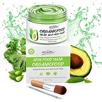Organic Avocado Vegan Dead Sea Mud Mask Nourishing Hydration Deep Cleansing Relaxing & Hydrating Facial Treatment Blackhead Remover Smooth Skin Green Tea Natural Healing Clay Mask for Face Gift