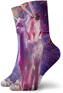 Jhonangel, Cosmic Cat Riding Alpaca Llama Unicorn Pizza Taco Socks Crew para hombres Mujeres Niños, Trekking, Rendimiento, Exterior 30 cm / 11.8 pulgadas