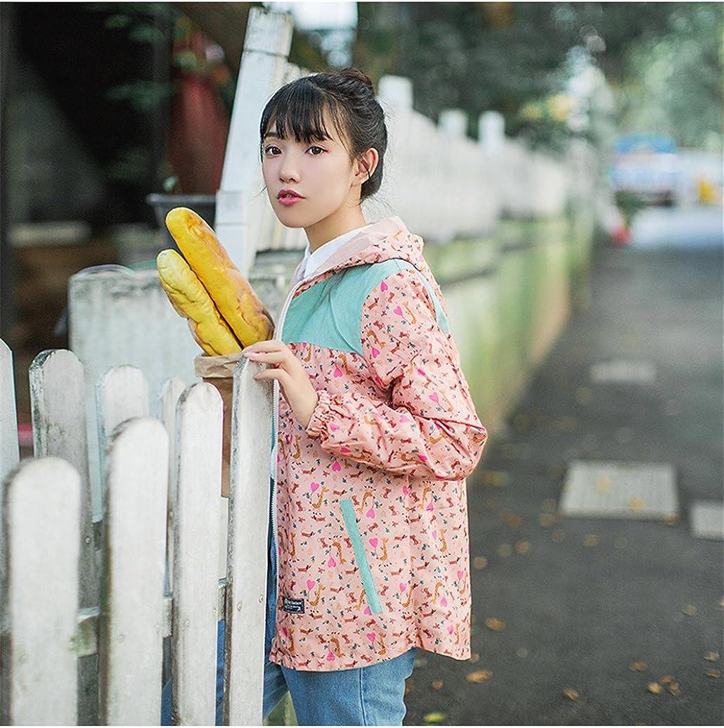 Spring Autumn New Women Jacket Loose Pocket Zipper Cartoon Print Hooded Two Side Wear Casual Jacket Coat Female Outerwear