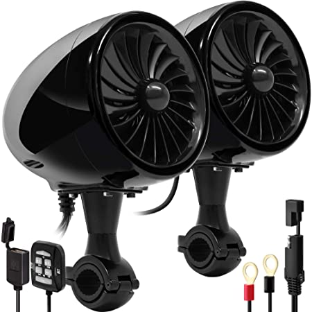 """GoHawk AN4 Gen.3 All-in-One Built-in Amplifier 4"""" Full Range Waterproof Bluetooth Motorcycle Stereo Speakers Audio Amp System w/AUX for 1 to 1-1/4 Bar Harley ATV RZR UTV Quad 4 Wheeler"""